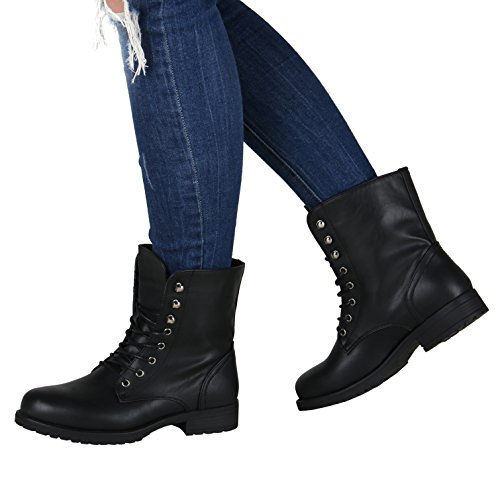 Stiefelparadies - Stivali Combat Donna Nero (nero)