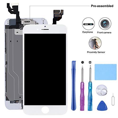 Beefix Écran Compatible pour iPhone 6 Blanc 4,7'' - Ecran LCD Pré-assemblé avec Capteur de Proximité, Caméra Frontale, Haut-Parleur Oreillette, Plaque Arrière en Métal et Kit D'outils de Réparation