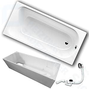 Kaldewei Saniform Plus Stahl Badewanne inkl. Wannenträger und Ablaufgarnitur (170 x 75 cm)