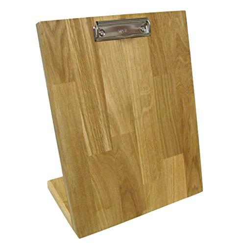 LINLAY Intarsien & Gravuren A4 Klemmbrett aus Holz Eiche Tischmodell Memoboard Notizbrett Aufsteller Flyerhalter Zettelhalter