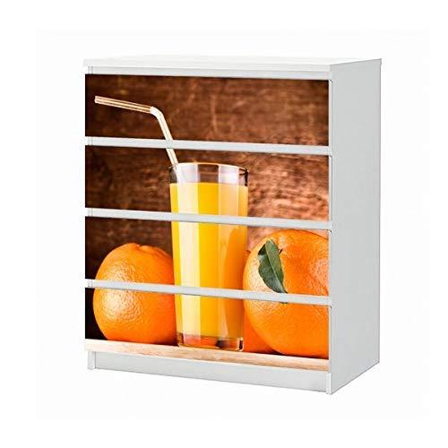 Set Möbelaufkleber für Ikea Kommode MALM 4 Fächer/Schubladen Saft Orange Orangensaft Getränk Glas Küchet Wasser Aufkleber Möbelfolie sticker (Ohne Möbel) Folie 25B900 - Getränke Orangensaft