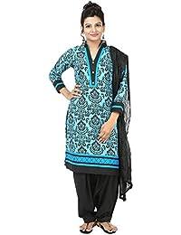 INDIAN FAIR LADY Printed Sky Blue & Black Color Stitched Cotton Suit Set For Women