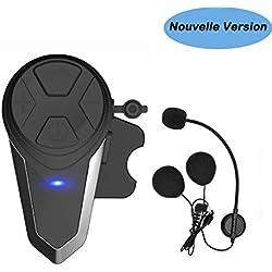 Kit Main Libre Moto, Thokwok BT-S3 Intercom Moto Bluetooth Casque Ski Oreillette Bluetooth pour GPS Moto 1000m Interphone sans Fil