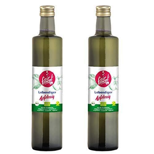 Fairment Apfelessig - bio, naturtrüb, mit der Essig-Mutter, unpasteurisiert, lebendig und ungefiltert - aus deutscher Produktion (2x 0,5 Liter)