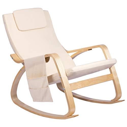 Woltu sks01cm sedia sdraio imbottita poltrona a dondolo poltroncina relax con schienale braccioli stoffa lino legno beige
