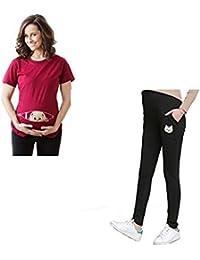 Bold N Elegant Combo of Red Half Sleeve Cute Sneak Peek Child Printed Pregnancy Maternity T-Shirt and Black Maternitywear Pregnancy Belly Leggings with Adjustable Elastic Waist