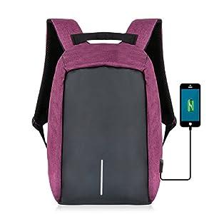 Sac à Dos pour Ordinateur Portable Etanche Antivol avec Câble USB et Port de Charge,Yunplus Sac de voyage léger imperméable à l'eau Sac de collège avec compartiment caché pour hommes et femmes