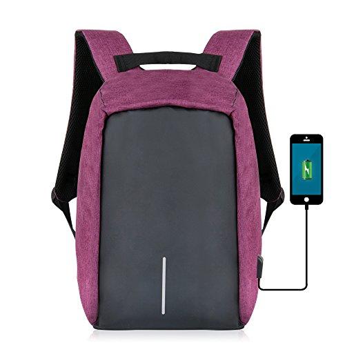 anti-thief Reißverschluss Business Laptop Rucksack mit USB-Ladeanschluss, yunplus leicht wasserdichte Reise Daypack College Tasche mit verstecktem Fach für Damen und Herren violett violett