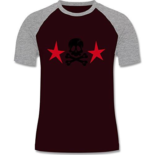 Piraten & Totenkopf - Totenkopf mit Sternen - zweifarbiges Baseballshirt für Männer Burgundrot/Grau meliert