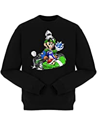 Pull Jeux Vidéo - Parodie Luigi Style Mario Kart - Kart Fighter - Player 2 - Pull Noir - Haute Qualité (670)