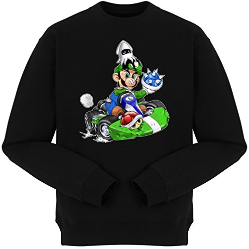 Pull Jeux Vidéo - Parodie Luigi Style Mario Kart - Kart Fighter - Player 2 - Pull Noir - Haute Qualité (670) Noir