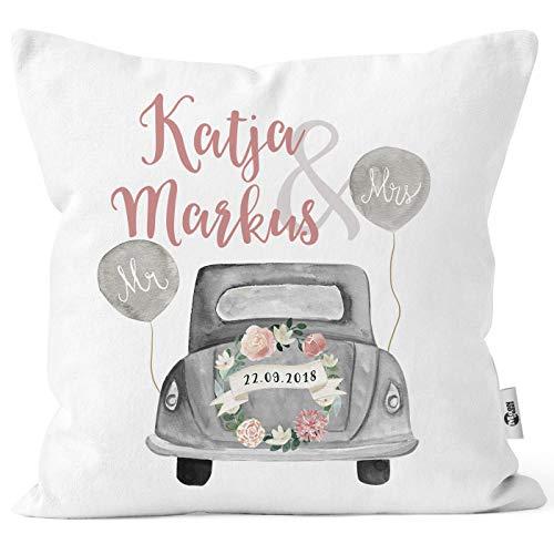 MoonWorks® personalisierbares Kissen zur Hochzeit,Hochzeitskissen Auto Hochzeitsgeschenk Geldgeschenk Kissenhülle mit Schleife weiß 40cm x 40cm