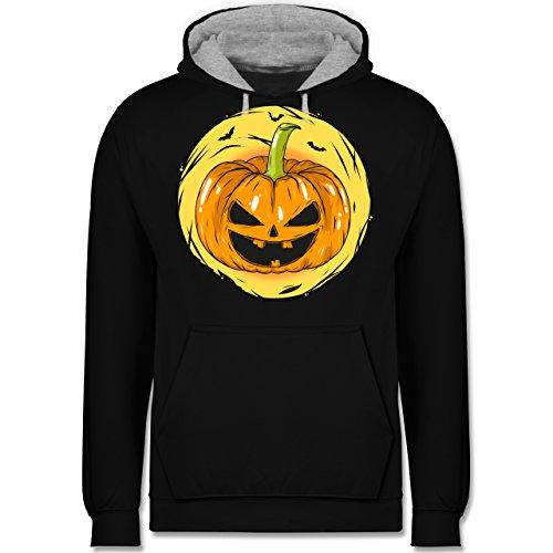 n Kürbis Gesicht - 5XL - Schwarz/Grau meliert - JH003 - Kontrast Hoodie (Schaurige Gesichter Für Kürbisse Halloween)