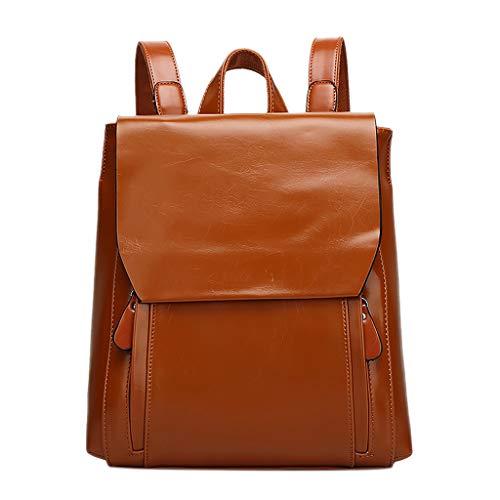 VBWER Mode Dame Retro College Style Rucksack PU Leder Handtasche weiches Gesicht Rucksack