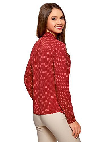 oodji Collection Damen Bluse Aus Fließendem Stoff mit Volants Rot (4912D)