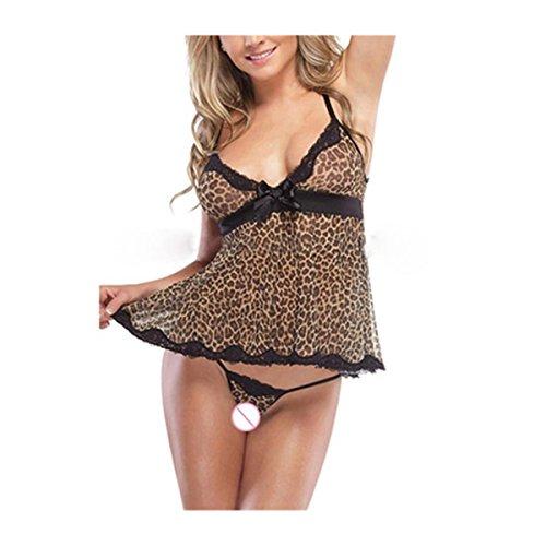 Nachtwäsche Röcke VENMO Frauen Spitze Bogen Unterwäsche Leopard Print Temptation Nachtwäsche Kleid + Strings (XL, Black)