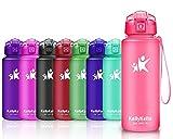 KollyKolla Gourde Sport sans BPA, Bouteille Plastique Anti-Fuite, Bouteille d'eau Étanche Reutilisable pour Enfant & Adulte, Gym, Cyclisme, Yoga, Fitness, S'ouvre avec 1 Clic (1L Rose Mat)