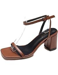 YMFIE Unione sexy appuntita cava lacca rivetto tacco alto scarpe da donna e moda sandali estivi,35 UE,un