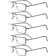 Eyekepepr Gafas de lectura 5-Pack marco de acero inoxidable estilo medio-ojo negro +0.5