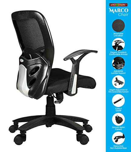 SAVYA HOME APEX Plastic Chairs MARCOZY Star Base Medium Back Office Chair, Standard, Black