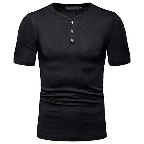 hirt,Sommer Casual Volltonfarbe Taste Kurze Ärmel O-Kragen T-Shirt Top(XX-Large,Schwarz) ()