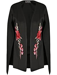 Be Jealous Womens Open Front Placket Rose Embroidered Ladies Split Oversized Baggy Cape Top UK Plus Size 8-26