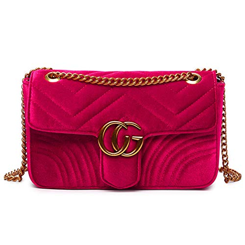 Portable Square Tote Bag Gesteppte Geldbeutel und Handtaschen Damen Crossbody Umhängetasche Samt Rot