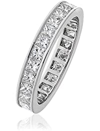 2.20CTS Certified G/VS2 Princess Cut Full Eternity Ring in 18k White Gold