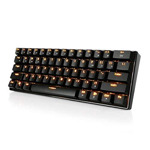 HLL Mini mechanische Tastatur, Wireless Gaming Portable 60% Tastaturen 61 Tasten RGB Single Backlit Blue Brown Switch,Black -