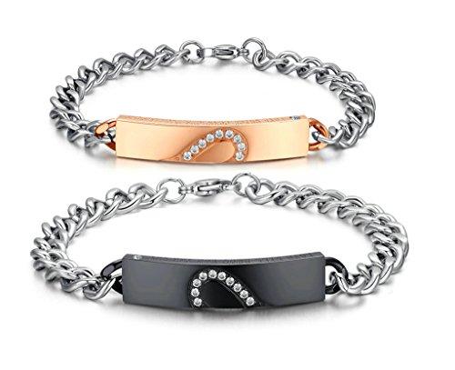 Daesar 2PCS Ihn & Sie Verliebte Armband Set mit Gravur Edelstahl Link Armband Zirkonia Herz Puzzle mit Geschenkkarton