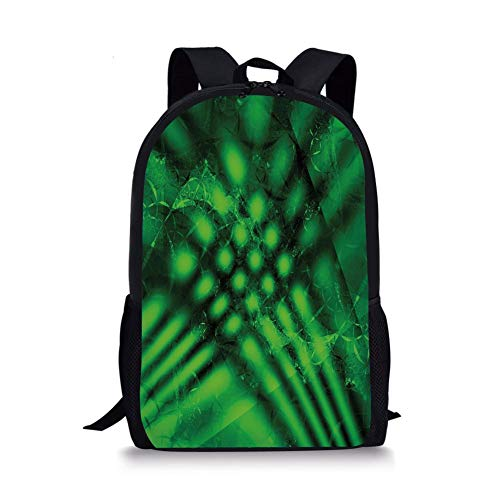 School Bags Lime Green,Psychedelic Abstract Blurry Shade Formless Effects Complex Visual Design,Hunter Green Black for Boys&Girls Mens Sport Daypack -