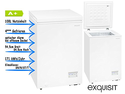 Exquisit GT 100-4EA + autonome Premiumqualität 100L A + Weiß-Tiefkühltruhen (autonome, Premiumqualität, weiß, oben, R600a, EG)