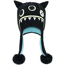 Freaks and Friends - gorro peruano de monstruo - con borla, al estilo inca, chullo de punto con interior de forro polar, negro