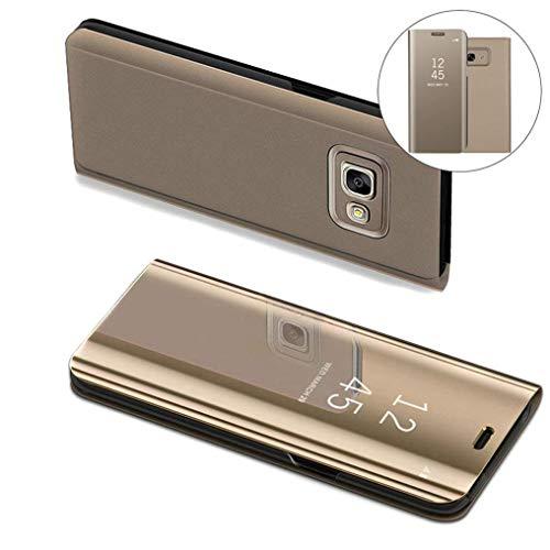COTDINFOR Samsung J7 Prime Hülle Ledertasche Handyhülle Slim Clear Crystal Spiegel Flip Ständer Etui Hüllen Schutzhüllen für Samsung Galaxy On7 2016 / J7 Prime SM-G610 Mirror PU Gold MX.