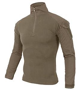 KEFITEVD Chemise de Combat Homme Chemise Camouflage Militaire Tactique T-Shirt Slim Fit Chemise à Manches Longues