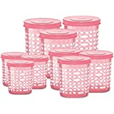 Milton Storex Plastic Set Of Storage Containers With Spoon (Baby Pink) - Pack Of 9