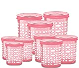 #10: Milton Plastic 500ml, 750ml, 1000ml Storage Containers with Spoon (Baby Pink, Pack of 9)