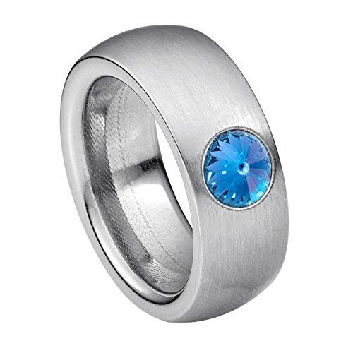Heideman Ring Damen Coma 8 aus Edelstahl Silber farbend matt Damenring für Frauen mit Swarovski Stein Kristall Saphir hell blau im Fantasie Edelsteinschliff 6mm (Saphir 6mm Blau)