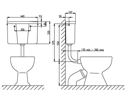 Weiße Kunststoff-Low-Level-WC Bad Spülkasten Tank Taster