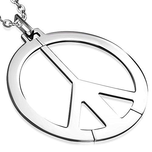 Bungsa Friedenszeichen Peace Anhänger Extra Gross 8cm Edelstahl Silber (Pendant Kettenanhänger Amulett Medaillon Charm Beads Chirurgenstahl Damen Herren Schmuck)