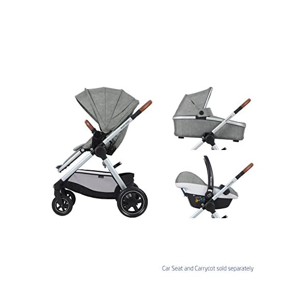 Maxi-Cosi Adorra Baby Pushchair, Comfortable and Lightweight Stroller with Huge Shopping Basket, Suitable from Birth, 0 Months - 3.5 Years, 0-15 kg, Nomad Grey Maxi-Cosi Cocooning seat - the luxury of a large padded seat for baby Lightweight - a light stroller less than 12kg that makes walking effortless Huge shopping basket - very easy to access 6