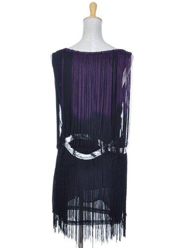 Anna-Kaci Frauen Fransen Troddel Trim Drop Flapper Silber verschönert Tropfen Taille Wrap Dress Cocktail Minikleid Kleid Violett