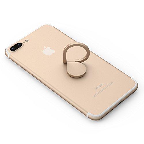Kronya® | 360° drehbarer Smartphone Fingerhalter | Case Finger Griff Halter Halterung Handy Hülle Ring Ringhalter Ständer Tablet | Kompatibel mit Apple iPhone iPad Samsung Galaxy | 1 (Gold)