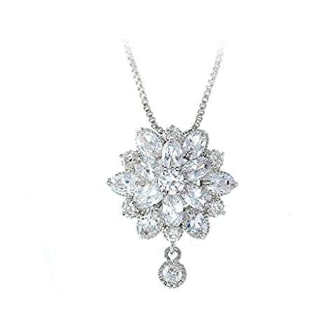 Aooaz Womens Necklace, Silver Plated Pendant Necklace Wedding Flower Crystal Cubic Zirconia Oval Box Chain