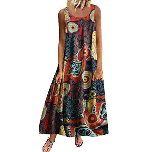 Elegant Kleider Damen Business Sommer Casual Böhmen Petticoat Kleid Büro Große Größe Dress Mädchen Qmber Ärmelloses Kleid mit Ethno-Print aus Baumwolle und Leinen/Brown,4XL -