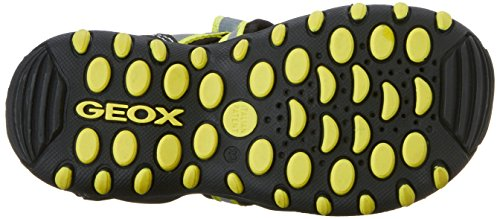 Geox Jr Sandal Kyle C, Sandales fermées garçon Multicolore - Mehrfarbig (BLACK/LIME GREENC9B3S)