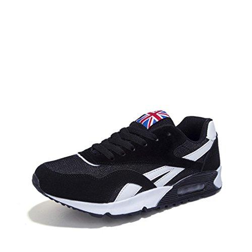Men's Air Mesh Eva Lace Up Sapatos Breathable Runing Shoes Black
