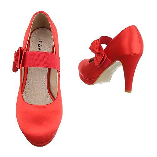 High Heel Damenschuhe Plateau Pfennig-/Stilettoabsatz High Heels Ital-Design Pumps Rot KV26-3J