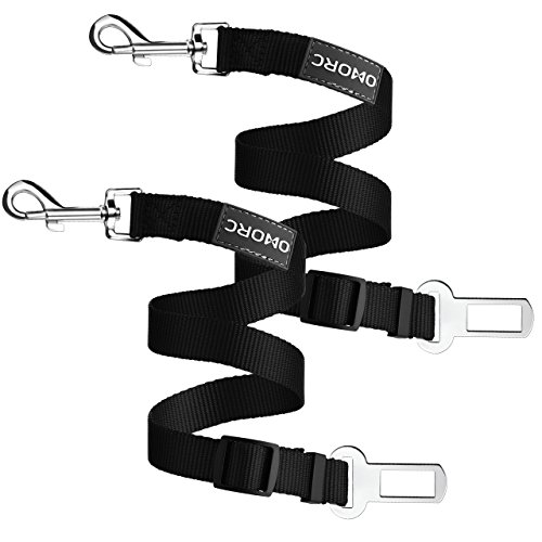 OMorc 2 Piece Dog Seat Belt, Dog Harness Pet Car Vehicle Seatbelt Pet Safety Leash Leads for Dogs/Cats, Nylon Fabric Material, Black