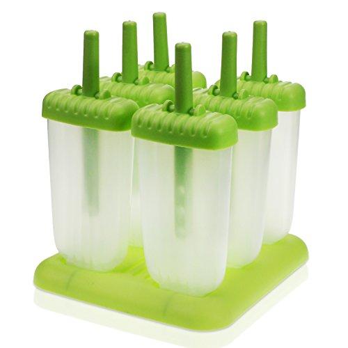 KEESIN Eis am Stiel Formen Wiederverwendbar Eis Formen aus Silikon Ice Pop Maker mit Tray Pan 6 Set für Kinder und Erwachsene (Tippe A)
